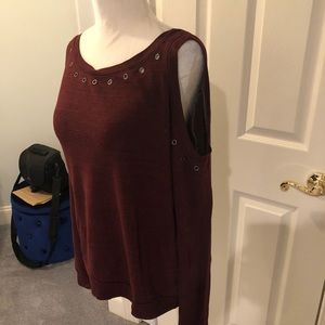 Rebecca Minkoff maroon cold shoulder top